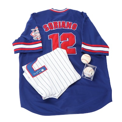 Chicago Cubs Memorabilia with Signed Jersey and Baseballs, COAs