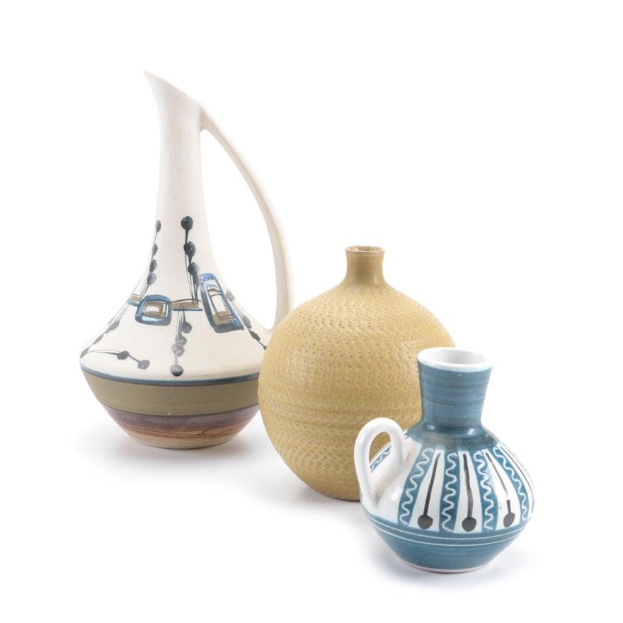 Harsa, OMC, and Elle Keramikk Handcrafted Studio Art Pottery Vase and Pitchers
