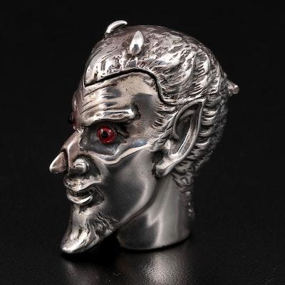 David A. Bowles Sterling Silver Novelty Devil Head Vesta, 1995