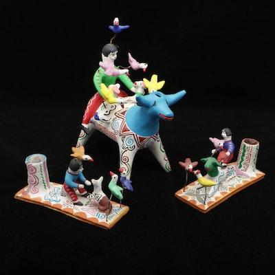 Ceramic Peruvian Candleholders and Bullfighter Figurine