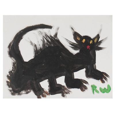 Robert Wright Folk Art Acrylic Painting of Cat