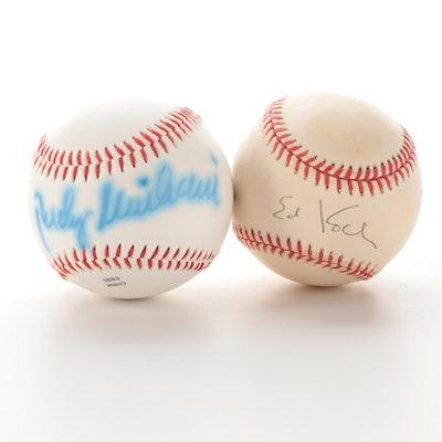 Rudy Giuliani and Ed Koch Signed Rawlings Baseballs, COAs