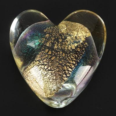 Robert Eickholt Heart-Shaped Art Glass Paperweight, 1999