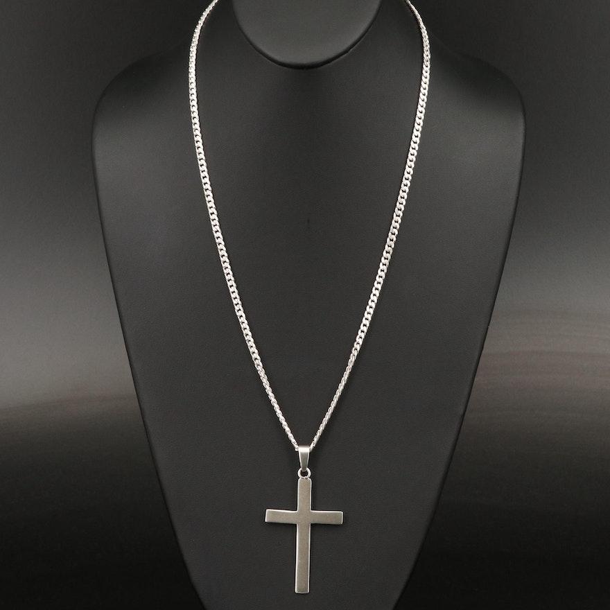 950 Silver Cross Pendant Necklace