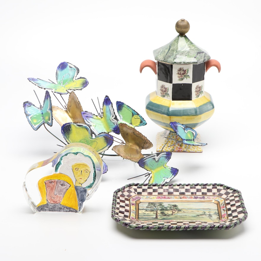 MacKenzie-Childs Tray and Urn, Glass Paperweight and Metal Butterfly Sculpture