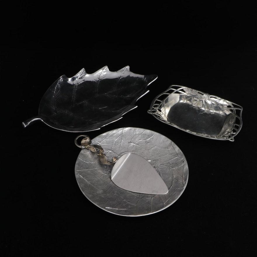 "Mariposa ""Brillante"" Leaf Serving Tray with Other Foliate Metal Serveware"