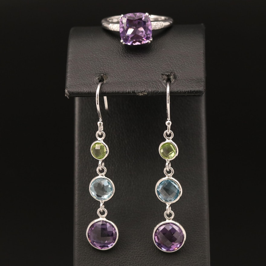 Sterling Ring and Earrings Including Amethyst, Diamond and Topaz