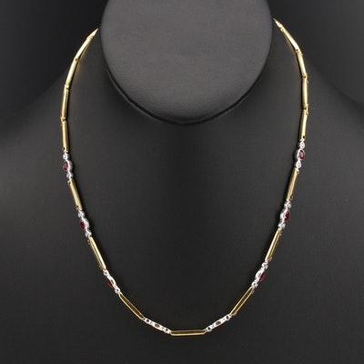 18K Ruby and Diamond Link Necklace