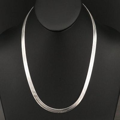 Italian Sterling Silver Herringbone Chain Necklace