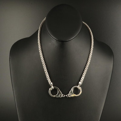 Sterling Hand Cuff Necklace