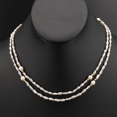 Endless Baroque Pearl Necklace with 14K Beads