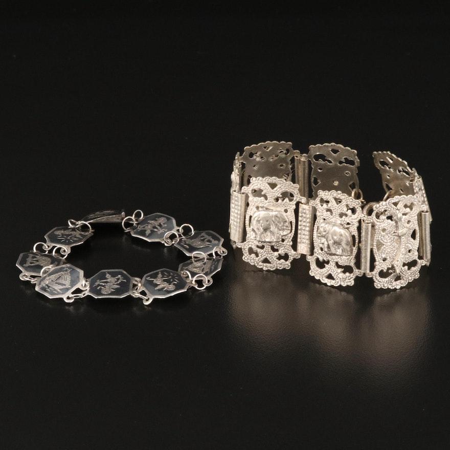 Thai 800 Silver Niello and Moroccan Souvenir Panel Bracelets