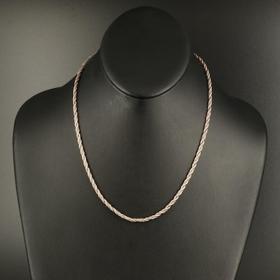 Sterling Rope Chain Necklace with 14K Chain Accent