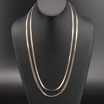 Italian Stering Herringbone Chain Necklaces