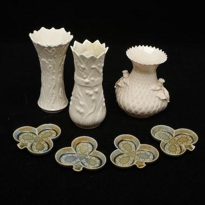 Belleek Porcelain Vases, Lenox Porcelain Vase, and Wade Porclain Trinket Trays