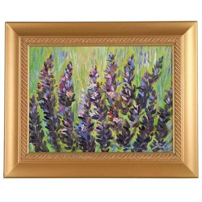 "Thea Mamukelashvili Oil Painting ""Blooming Lavender,"" 2021"