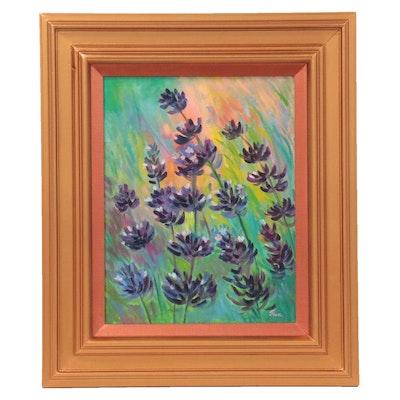 "Thea Mamukelashvili Oil Painting ""Lavender Field,"" 2021"