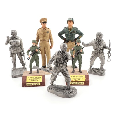 Castagna Gen. Patton and MacArthur with Etain Pewter and Other WWII Figurines