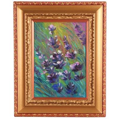 """Thea Mamukelashvili Oil Painting """"Lovely Lavender,"""" 2021"""