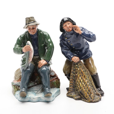 """Royal Doulton """"A Good Catch"""" and """"Sea Harvest"""" Figurines"""