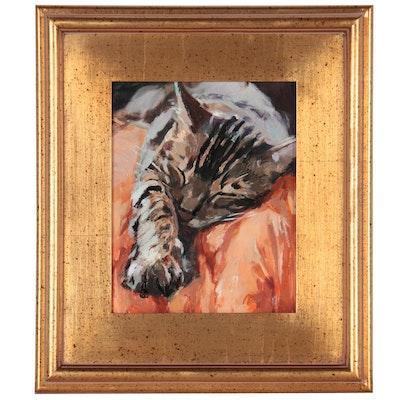 """Adam Deda Oil Painting """"Catnap,"""" 2021"""