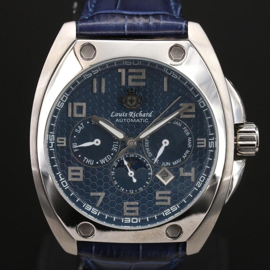 Louis Richard Triple Calendar Stainless Steel Wristwatch
