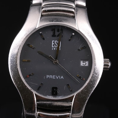 ESQ Swiss Previa with Date Stainless Steel Wristwatch