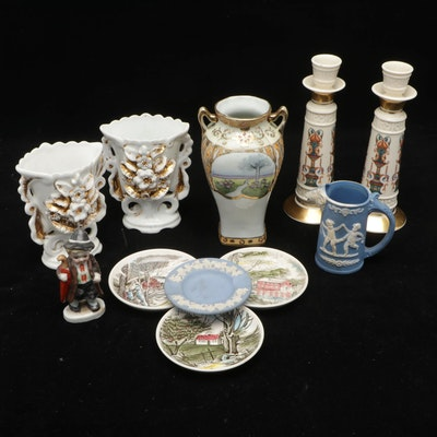 Lenox, Johnson Bros. and Imperial Nippon Ceramic Vases, Candlesticks and Plates
