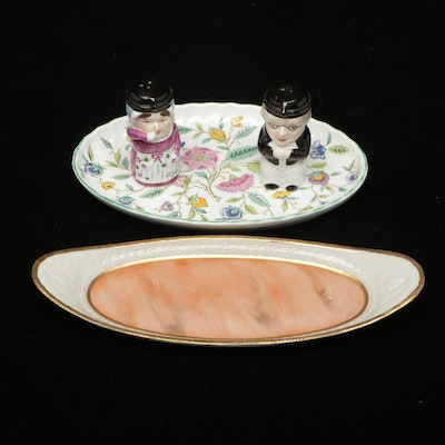 """Mottahedeh Figural Shakers and Dish with Minton """"Haddon Hall"""" Plate"""