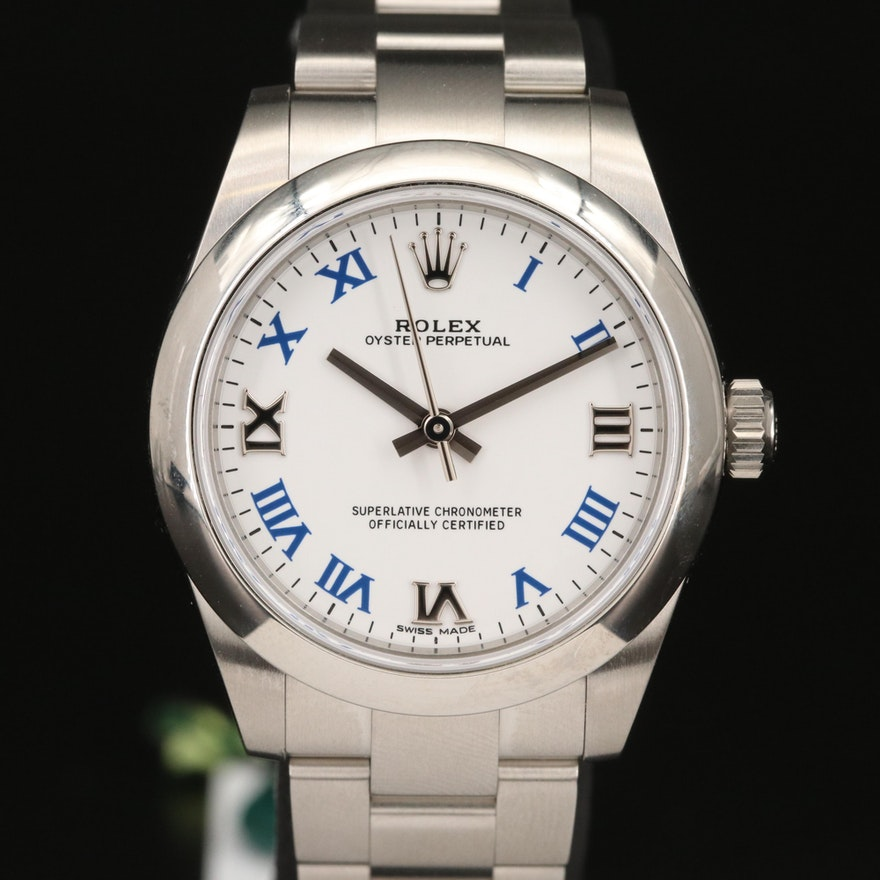 Rolex Oyster Perpetual Mid Size Stainless Steel Wristwatch