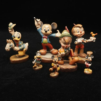 Anri Disney Hand-Carved Wooden Mickey, Pinnocchio, Donald Duck Figures