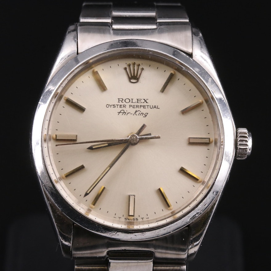1977 Rolex Air-King Stainless Steel Automatic Wristwatch