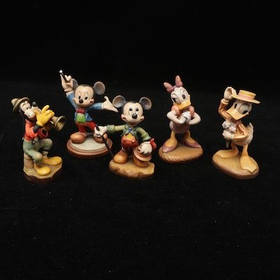 Anri Disney Hand-Carved Wooden Donald and Daisy Duck, Goofy and Mickey Figures