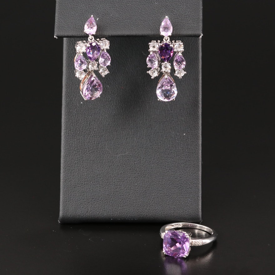 Sterling Silver Amethyst Heart Drop Earrings and Ring