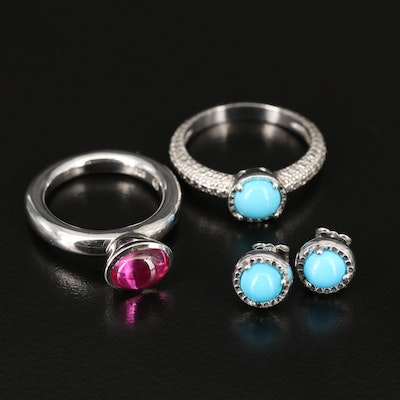 Sterling Ruby and Turquoise Ring and Earrings