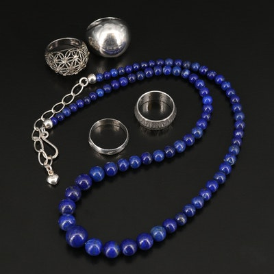 Desert Rose Trading Sterling Graduated Lapis Lazuli Necklace with Dome Rings