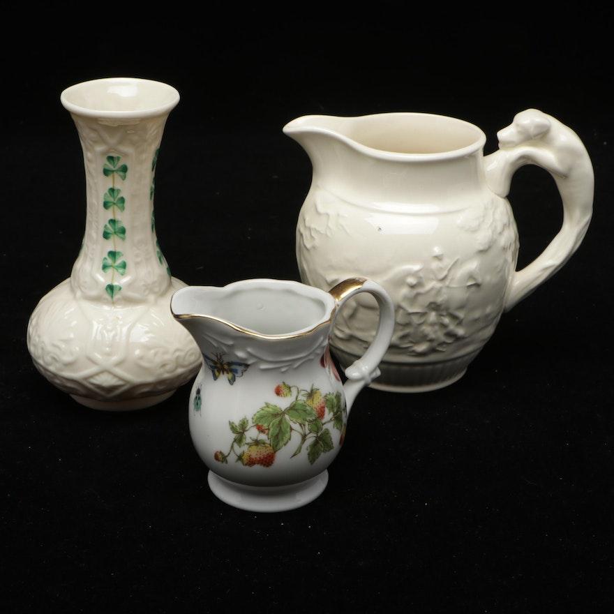 "Wedgwood Creamer, Belleek ""Shamrock"" Porcelain Vase, and Porcelain Creamer"