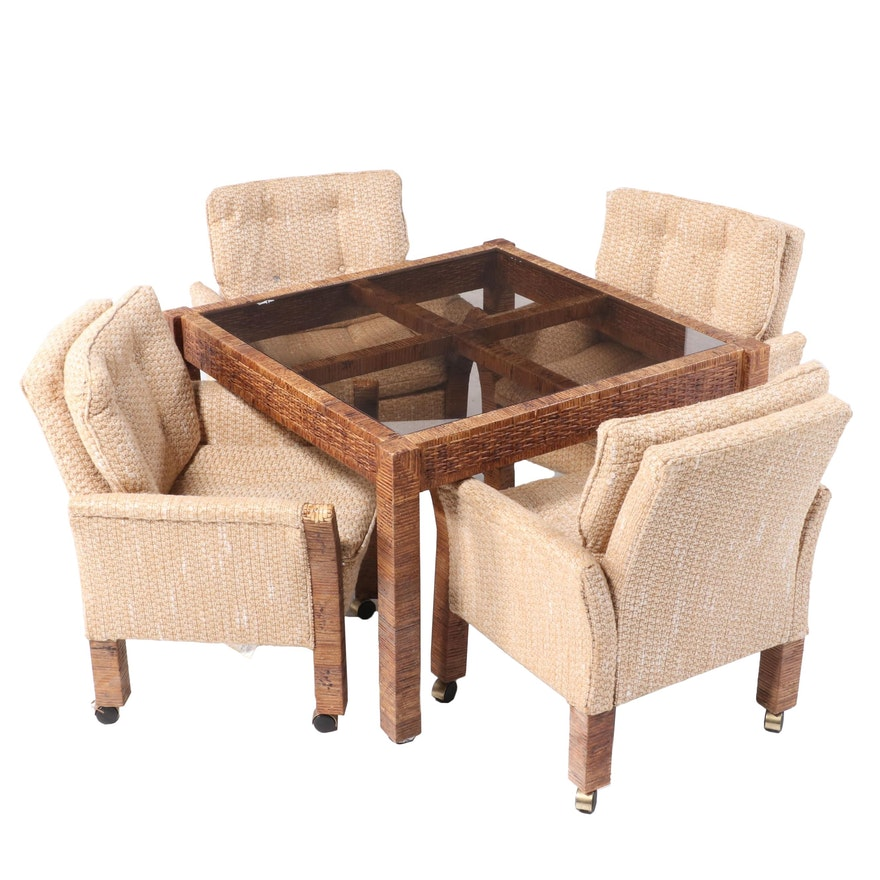 Wilshire Mfg. Co. Cane-Wrapped Glass Top Table and Rolling Chair Set