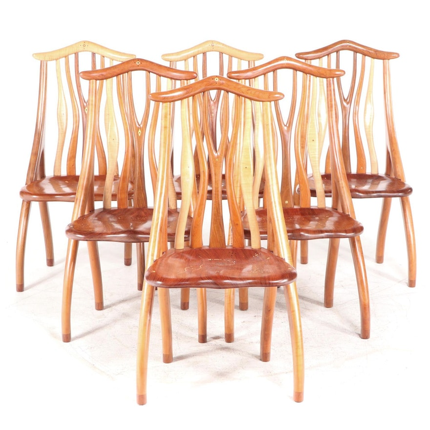 Six Steven Spiro Specimen Wood, MOP, & Fossil-Inlaid Mixed Hardwood Side Chairs