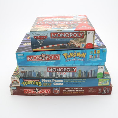 Monopoly Board Games Featuring Pokemon, Cars, and NFL Editions