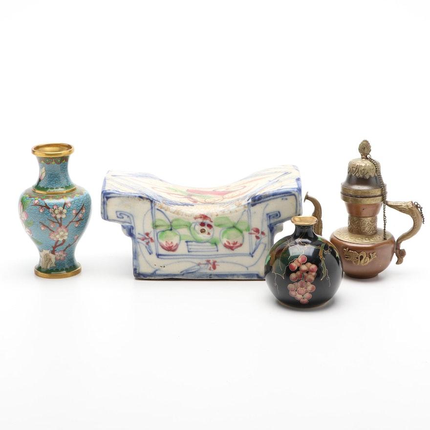 Chinese Cloissonne Vases, Sino-Tibetan Copper Ewer and Stoneware Pillow