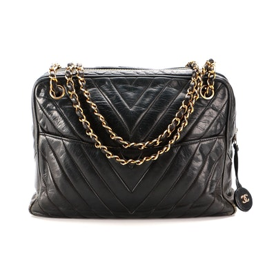 Chanel Camera Bag in Black Chevron Quilted Lambskin with Classic Chain Strap