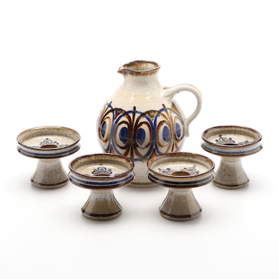 Bornholm Stoneware Pottery Pitcher and Candlesticks, Late 20th Century