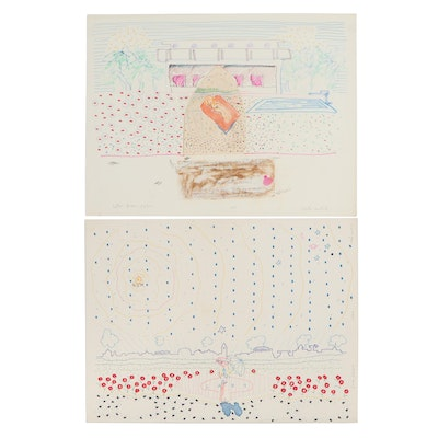 """Philip the Transplant Abstract Drawings """"Letter From John"""" and """"Sunshine"""""""