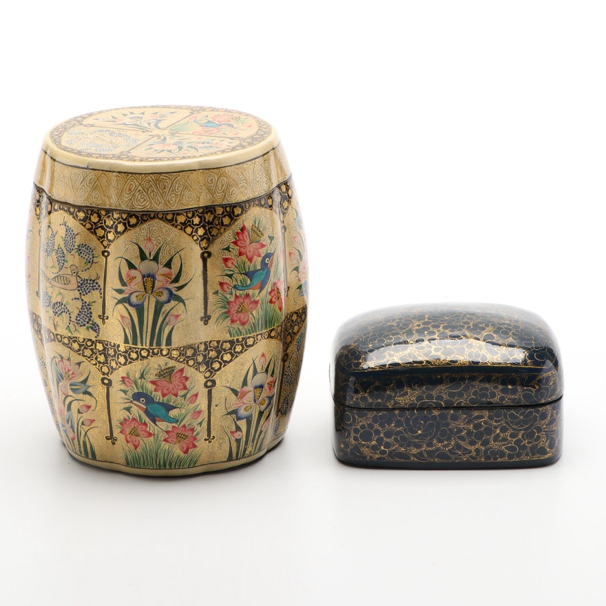 Cheap John Indian Hand-Painted Lacquerware Boxes, Mid-Late 20th Century