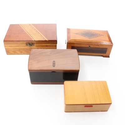 Wooden Music, Jewelry, and Tunbridge Ware Boxes Featuring Lincoln