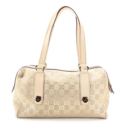 Gucci Charmy Metallic GG Suede and Leather Shoulder Bag