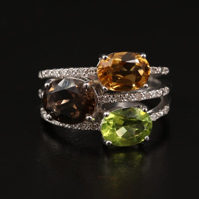 Sterling Silver Diamond and Gemstone Multi-Row Ring