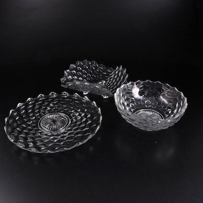 "Fostoria ""American"" Clear Glass Torte Plate, Serving Bowl and Bon Bon Bowl"
