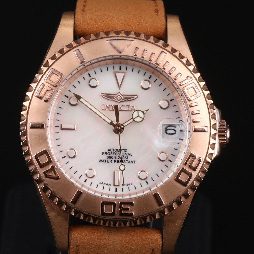 Invicta Rose Gold Tone Mother of Pearl Dial Wristwatch